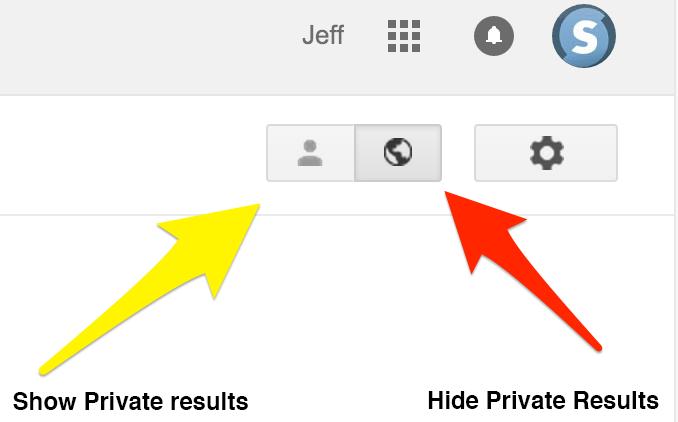 Hiding private search